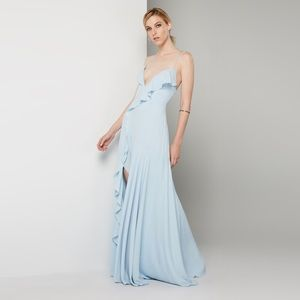 Fame and Partners Callais Ruffle Gown Blue